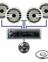 New Kenwood In Dash Marine Boat Yacht Bluetooth Digital USB AUX iPod iPhone AM/FM Radio Stereo Player & Kenwood KCA-RC35MR Wired Remote Control for Kenwod Marine Stereo With 4 X 6.5″ Inch MB Quart Marine Audio Stereo Speakers System And Enrock Marine 45″ Antenna – Marine Audio Package