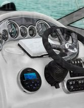 New Jensen MS-3ARTL Gauge Style Marine Boat Yacht ATV Motorcycle Waterproof Stereo w/ Bluetooth & USB With Enrock Universal USB 3.5MM Auxiliary Interface Mount W/Enrock Marine Radio Antenna (Black)