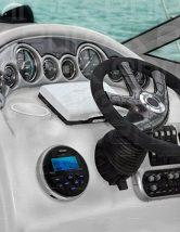 New Jensen MS-3ARTL Gauge Style Marine Boat Yacht ATV Motorcycle Waterproof Stereo w/ Bluetooth & USB With Enrock Universal USB 3.5MM Auxiliary Interface Mount W/Enrock Marine Radio Antenna (Black)